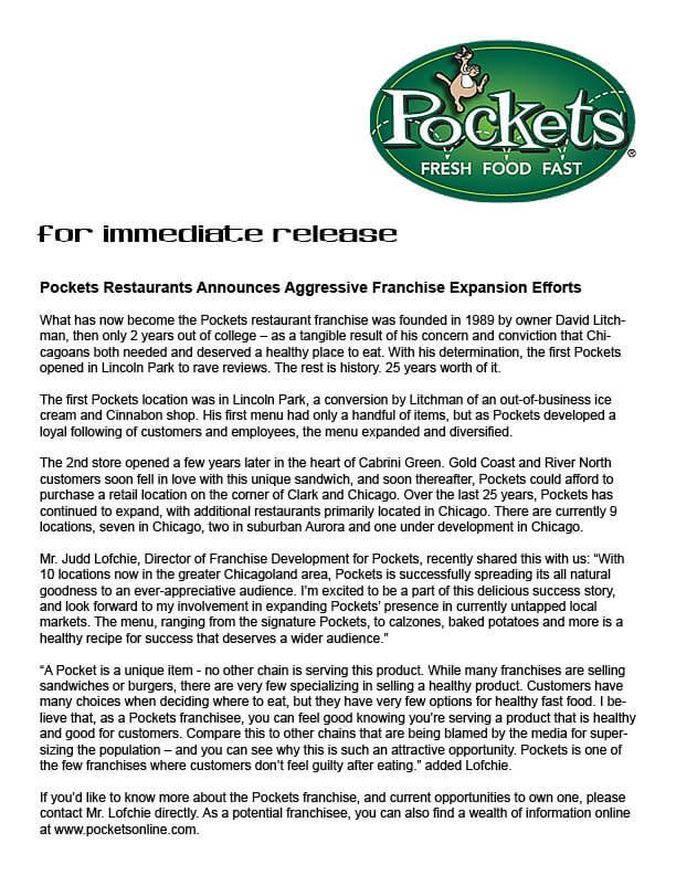 pockets press release